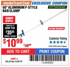 "Harbor Freight ITC Coupon 60"" ALUMINIUM BAR CLAMP Lot No. 60594 Expired: 5/28/19 - $10.99"
