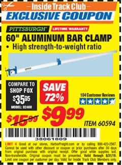 "Harbor Freight ITC Coupon 60"" ALUMINIUM BAR CLAMP Lot No. 60594 Expired: 8/31/19 - $9.99"