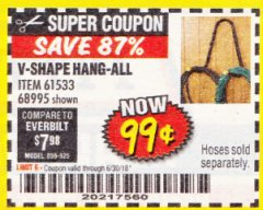 Harbor Freight Coupon V-SHAPE HANG-ALL Lot No. 68995/61430/61533 Expired: 6/30/18 - $0.99