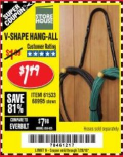 Harbor Freight Coupon V-SHAPE HANG-ALL Lot No. 68995/61430/61533 Expired: 7/28/18 - $1.49