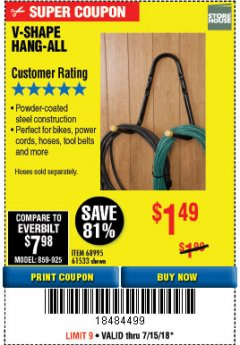Harbor Freight Coupon V-SHAPE HANG-ALL Lot No. 68995/61430/61533 Expired: 7/15/18 - $1.49