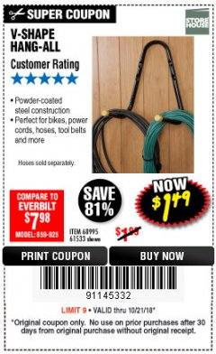 Harbor Freight Coupon V-SHAPE HANG-ALL Lot No. 68995/61430/61533 Expired: 10/21/18 - $1.49
