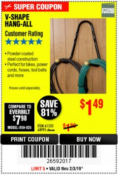 Harbor Freight Coupon V-SHAPE HANG-ALL Lot No. 68995/61430/61533 Expired: 2/3/19 - $1.49