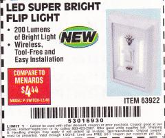 Harbor Freight FREE Coupon LED SUPER BRIGHT FLIP LIGHT Lot No. 63922 Valid Thru: 1/19/18 - FWP