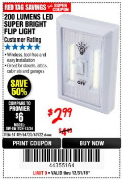 Harbor Freight Coupon LED SUPER BRIGHT FLIP LIGHT Lot No. 64723/63922/64189 Expired: 12/31/18 - $2.99