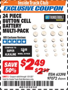 Harbor Freight ITC Coupon BUTTON CELL BATTERY MULTI-PACK PACK OF 24 Lot No. 63398/97072 Expired: 1/31/20 - $2.49
