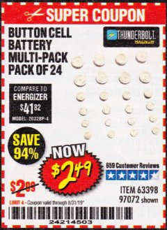 Harbor Freight Coupon BUTTON CELL BATTERY MULTI-PACK PACK OF 24 Lot No. 63398/97072 Expired: 8/31/19 - $2.49