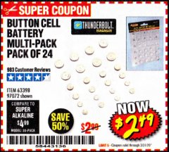 Harbor Freight Coupon BUTTON CELL BATTERY MULTI-PACK PACK OF 24 Lot No. 63398/97072 Expired: 3/31/20 - $2.49