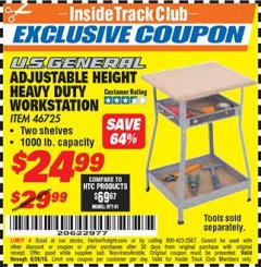 Harbor Freight ITC Coupon ADJUSTABLE HEIGHT HEAVY DUTY WORKSTATION Lot No. 46725 Expired: 6/30/18 - $24.99