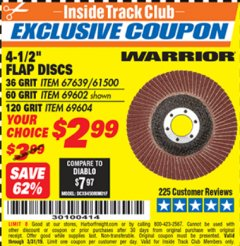 "Harbor Freight ITC Coupon 4.5"" FLAP DISCS Lot No. 67639/61500/69602/67637/69604 Valid Thru: 3/31/19 - $2.99"