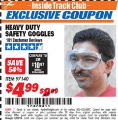 Harbor Freight ITC Coupon HEAVY DUTY SAFETY GOGGLES Lot No. 97140 Dates Valid: 12/31/69 - 2/28/19 - $4.99