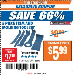 Harbor Freight ITC Coupon 5 PIECE TRIM AND MOLDING TOOL SET Lot No. 64126/67021 Expired: 1/9/19 - $5.99