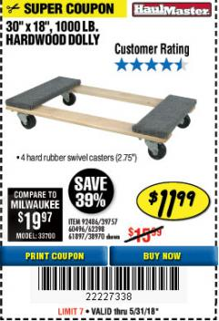 Harbor Freight Coupon HARDWOOD MOVER'S DOLLY Lot No. 61897/39757/38970/60496/62398/92486 Expired: 5/31/18 - $11.99