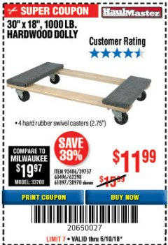 Harbor Freight Coupon HARDWOOD MOVER'S DOLLY Lot No. 61897/39757/38970/60496/62398/92486 Expired: 6/10/18 - $11.99