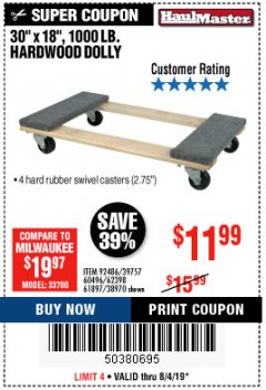 Harbor Freight Coupon HARDWOOD MOVER'S DOLLY Lot No. 61897/39757/38970/60496/62398/92486 Expired: 8/4/19 - $11.99