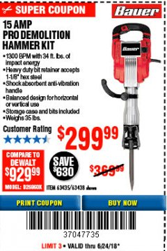 Harbor Freight Coupon 15 AMP PRO DEMOLITION HAMMER KIT Lot No. 63435/63438 Expired: 6/24/18 - $299.99