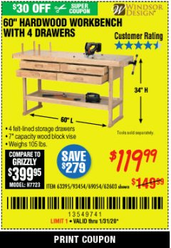 "Harbor Freight Coupon 60"", 4 DRAWER HARDWOOD WORKBENCH Lot No. 63395/93454/69054/62603 Expired: 1/31/20 - $119.99"