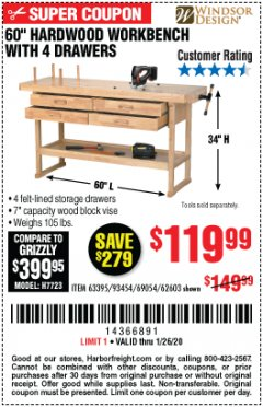 "Harbor Freight Coupon 60"", 4 DRAWER HARDWOOD WORKBENCH Lot No. 63395/93454/69054/62603 Expired: 1/26/20 - $119.99"