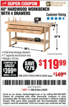 "Harbor Freight Coupon 60"", 4 DRAWER HARDWOOD WORKBENCH Lot No. 63395/93454/69054/62603 Expired: 2/9/20 - $119.99"