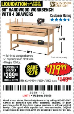 "Harbor Freight Coupon 60"", 4 DRAWER HARDWOOD WORKBENCH Lot No. 63395/93454/69054/62603 Expired: 3/31/20 - $119.99"