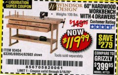 "Harbor Freight Coupon 60"", 4 DRAWER HARDWOOD WORKBENCH Lot No. 63395/93454/69054/62603 Expired: 6/30/20 - $119.99"