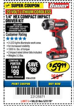 "Harbor Freight Coupon 1/4"" HEX COMPACT IMPACT DRIVER KIT Lot No. 63528 Expired: 5/31/18 - $59.99"