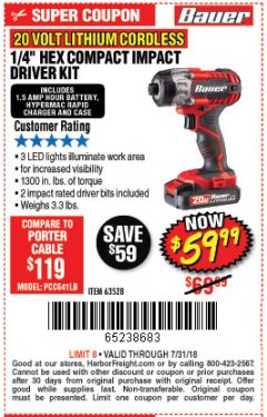 "Harbor Freight Coupon 1/4"" HEX COMPACT IMPACT DRIVER KIT Lot No. 63528 Valid Thru: 7/31/18 - $59.99"