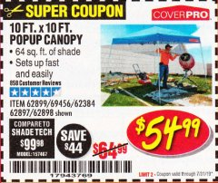 Harbor Freight Coupon COVERPRO 10 FT. X 10 FT. POPUP CANOPY Lot No. 62898/62897/62899/69456 Expired: 7/31/19 - $54.99