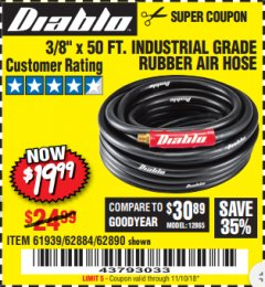 Harbor Freight Coupon DIABLO 3/8 IN. X 25 FT. PREMIUM RUBBER AIR HOSE Lot No. 61936/69581/62885/62889 Expired: 11/10/18 - $19.99
