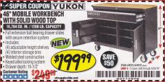 "Harbor Freight Coupon 46"" MOBILE WORKBENCH WITH SOLID WOOD TOP Lot No. 64023/64012 Expired: 6/30/18 - $199.99"