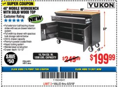 "Harbor Freight Coupon 46"" MOBILE WORKBENCH WITH SOLID WOOD TOP Lot No. 64023/64012 Expired: 6/3/18 - $199.99"