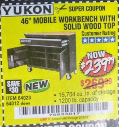 "Harbor Freight Coupon 46"" MOBILE WORKBENCH WITH SOLID WOOD TOP Lot No. 64023/64012 Expired: 9/18/18 - $239.99"