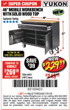 "Harbor Freight Coupon 46"" MOBILE WORKBENCH WITH SOLID WOOD TOP Lot No. 64023/64012 Expired: 7/31/18 - $229.99"