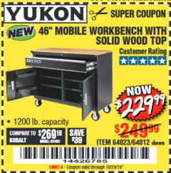 "Harbor Freight Coupon 46"" MOBILE WORKBENCH WITH SOLID WOOD TOP Lot No. 64023/64012 Expired: 10/29/18 - $229.99"