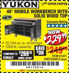 "Harbor Freight Coupon 46"" MOBILE WORKBENCH WITH SOLID WOOD TOP Lot No. 64023/64012 Expired: 12/10/18 - $229.99"