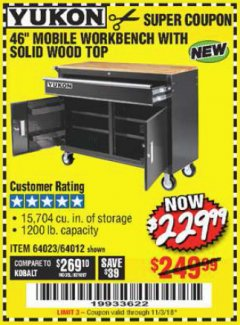 "Harbor Freight Coupon 46"" MOBILE WORKBENCH WITH SOLID WOOD TOP Lot No. 64023/64012 Expired: 11/3/18 - $229.99"