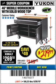 "Harbor Freight Coupon 46"" MOBILE WORKBENCH WITH SOLID WOOD TOP Lot No. 64023/64012 Expired: 9/30/18 - $219.99"