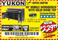 "Harbor Freight Coupon 46"" MOBILE WORKBENCH WITH SOLID WOOD TOP Lot No. 64023/64012 Expired: 1/16/19 - $229.99"
