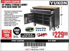 "Harbor Freight Coupon 46"" MOBILE WORKBENCH WITH SOLID WOOD TOP Lot No. 64023/64012 Expired: 11/4/18 - $229.99"