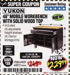 "Harbor Freight Coupon 46"" MOBILE WORKBENCH WITH SOLID WOOD TOP Lot No. 64023/64012 Expired: 11/30/18 - $229.99"