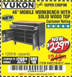 "Harbor Freight Coupon 46"" MOBILE WORKBENCH WITH SOLID WOOD TOP Lot No. 64023/64012 Expired: 2/5/19 - $229.99"