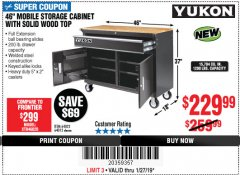 "Harbor Freight Coupon 46"" MOBILE WORKBENCH WITH SOLID WOOD TOP Lot No. 64023/64012 Expired: 1/27/19 - $229.99"