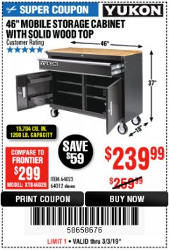 "Harbor Freight Coupon 46"" MOBILE WORKBENCH WITH SOLID WOOD TOP Lot No. 64023/64012 Valid Thru: 3/3/19 - $239.99"