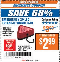Harbor Freight ITC Coupon EMERGENCY 39 LED TRIANGLE WORK LIGHT Lot No. 64115/62417/62574/63722/63879/62158 Expired: 11/6/18 - $2.99