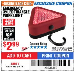 Harbor Freight ITC Coupon EMERGENCY 39 LED TRIANGLE WORK LIGHT Lot No. 64115/62417/62574/63722/63879/62158 Expired: 3/5/19 - $2.99