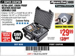 Harbor Freight Coupon APACHE 3800 WEATHERPROOF PROTECTIVE CASE Lot No. 63927 Expired: 8/4/19 - $29.99