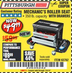 Harbor Freight Coupon MECHANIC'S ROLLER SEAT WITH DRAWERS Lot No. 63762/64548 Expired: 7/9/18 - $49.99