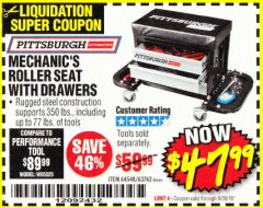 Harbor Freight Coupon MECHANIC'S ROLLER SEAT WITH DRAWERS Lot No. 63762/64548 Expired: 6/30/18 - $47.99
