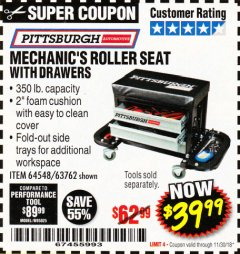 Harbor Freight Coupon MECHANIC'S ROLLER SEAT WITH DRAWERS Lot No. 63762/64548 Expired: 11/30/18 - $39.99