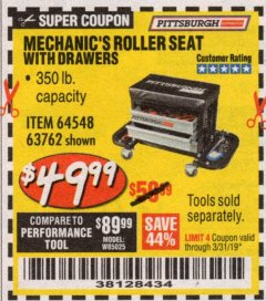 Harbor Freight Coupon MECHANIC'S ROLLER SEAT WITH DRAWERS Lot No. 63762/64548 Expired: 3/31/19 - $49.99